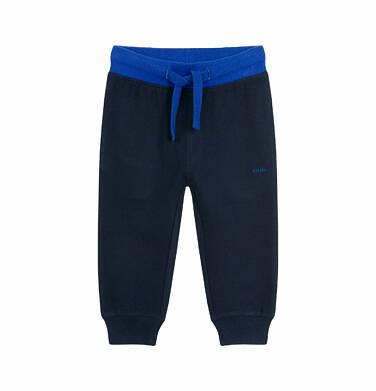 Endo - Spodnie dresowe dla dziecka do 2 lat, z kontrastowym ściągaczem, ciemnogranatowe N03K009_1 35