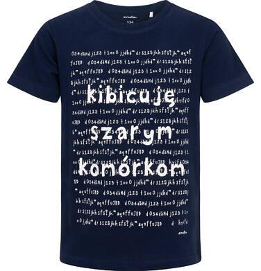 Endo - T-shirt z krótkim rękawem dla chłopca, z napisem kibicuję szarym komórkom, granatowy, 9-13 lat C06G160_1 231