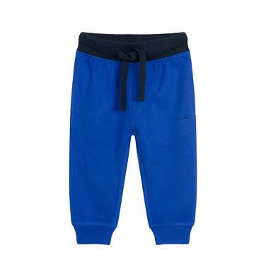 Spodnie dresowe dla dziecka do 2 lat, z kontrastowym ściągaczem, ciemnoniebieskie N03K009_2
