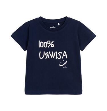 Endo - T-shirt z krótkim rękawem dla chłopca, z napisem 100% urwisa, granatowy, 2-8 lat C06G170_1 21