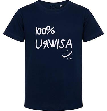 Endo - T-shirt z krótkim rękawem dla chłopca, z napisem 100% urwisa, granatowy, 2-8 lat C06G170_1 1