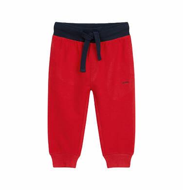 Spodnie dresowe dla dziecka do 2 lat, z kontrastowym ściągaczem, czerwone N03K009_3