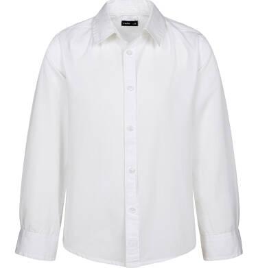 Koszula z długim rękawem dla chłopca, z kołnierzykiem, bia  gfeQp
