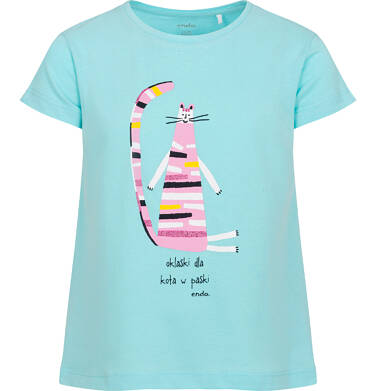 Endo - T-shirt z krótkim rękawem dla dziewczynki, z kolorowym kotem, niebieski, 9-13 lat D06G118_1 32