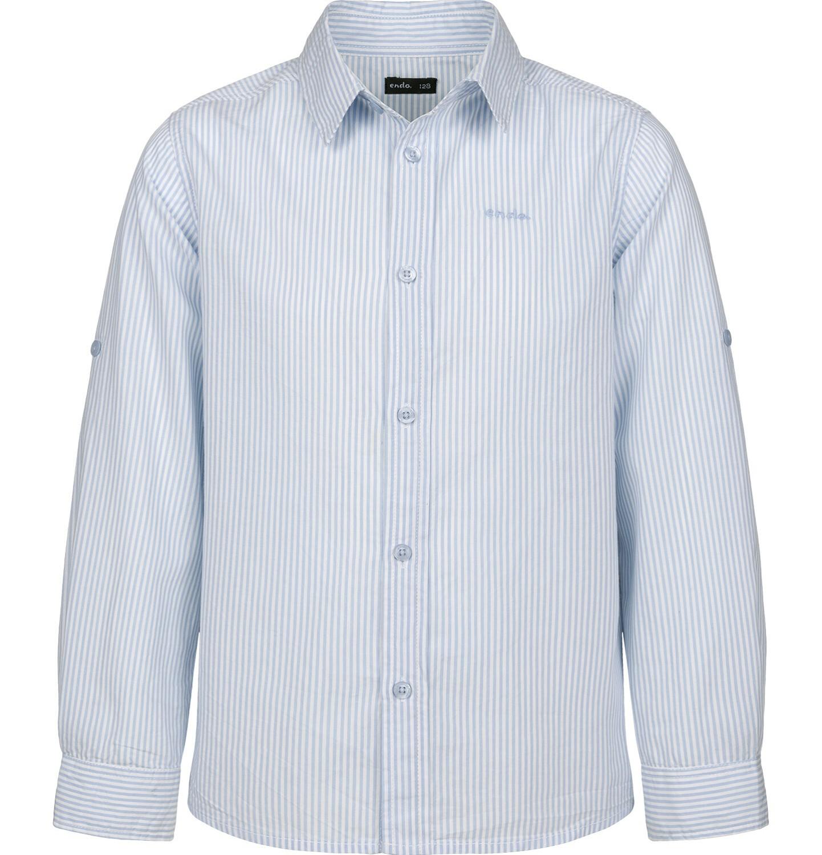 Endo - Koszula z długim rękawem dla chłopca, z kołnierzykiem, w biało-niebieskie paski, 2-8 lat C03F003_1