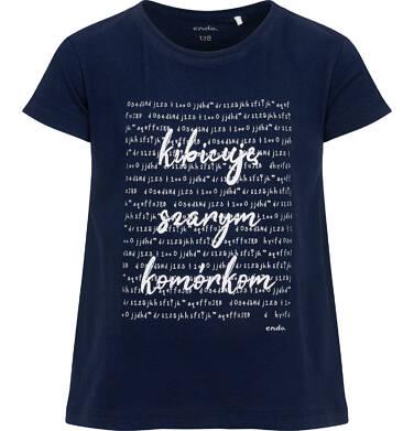 Endo - T-shirt z krótkim rękawem dla dziewczynki, z napisem kibicuję szarym komórkom, granatowy, 4-8 lat D06G133_1 36