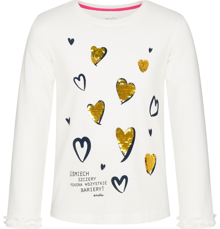 Endo - Bluzka z długim rękawem dla dziewczynki, mam dobry dzień, złamana biel, 9-13 lat D92G535_1