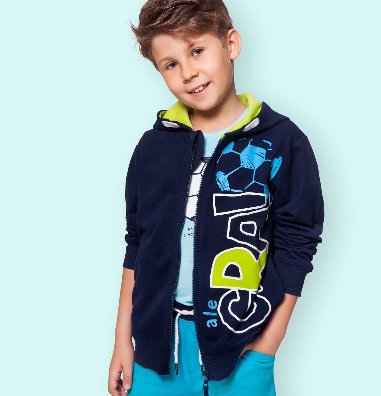 Endo - Rozpinana bluza z kapturem dla chłopca, z piłką nożną i napisem, granatowa, 9-13 lat C05C008_1