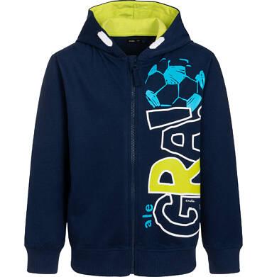 Rozpinana bluza z kapturem dla chłopca, z piłką nożną i napisem, granatowa, 9-13 lat C05C008_1