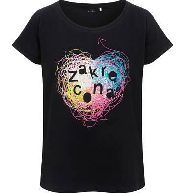Endo - T-shirt damski, z napisem zakręcona, czarny Y06G012_1 11