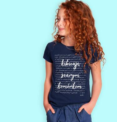 Endo - T-shirt z krótkim rękawem dla dziewczynki, z napisem kibicuję szarym komórkom, granatowy, 9-13 lat D06G134_1 1