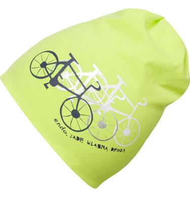 Endo - Czapka wiosenna dla chłopca, z rowerami, jadę własną drogą, zielona C03R006_1