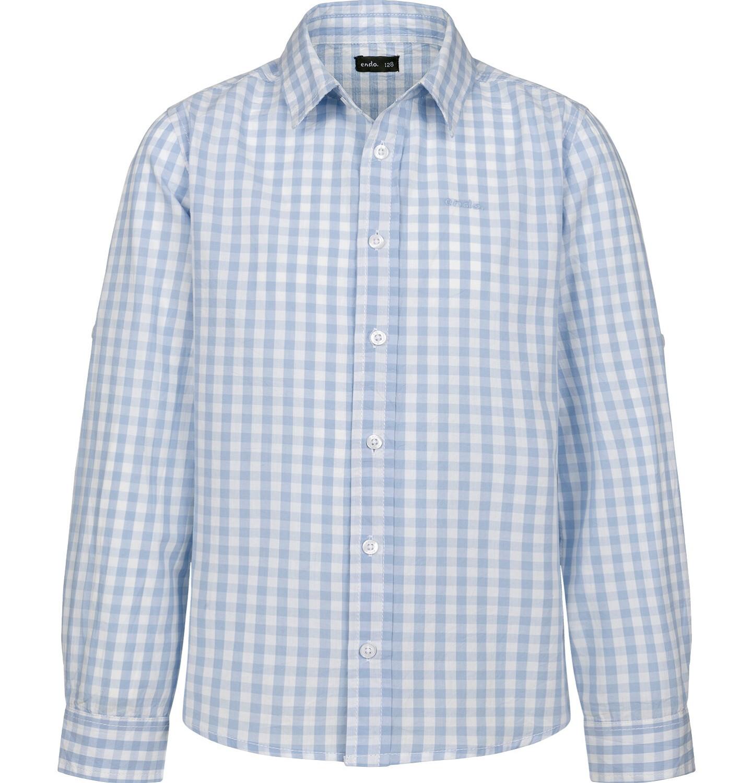 Endo - Koszula z długim rękawem dla chłopca, z kołnierzykiem, w biało-niebieską kratę, 2-8 lat C03F004_1