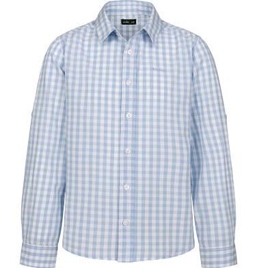 Endo - Koszula z długim rękawem dla chłopca, z kołnierzykiem, w biało-niebieską kratę, 2-8 lat C03F004_1 1