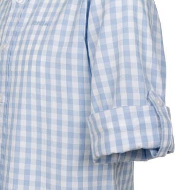 Endo - Koszula z długim rękawem dla chłopca, z kołnierzykiem, w biało-niebieską kratę, 2-8 lat C03F004_1,2