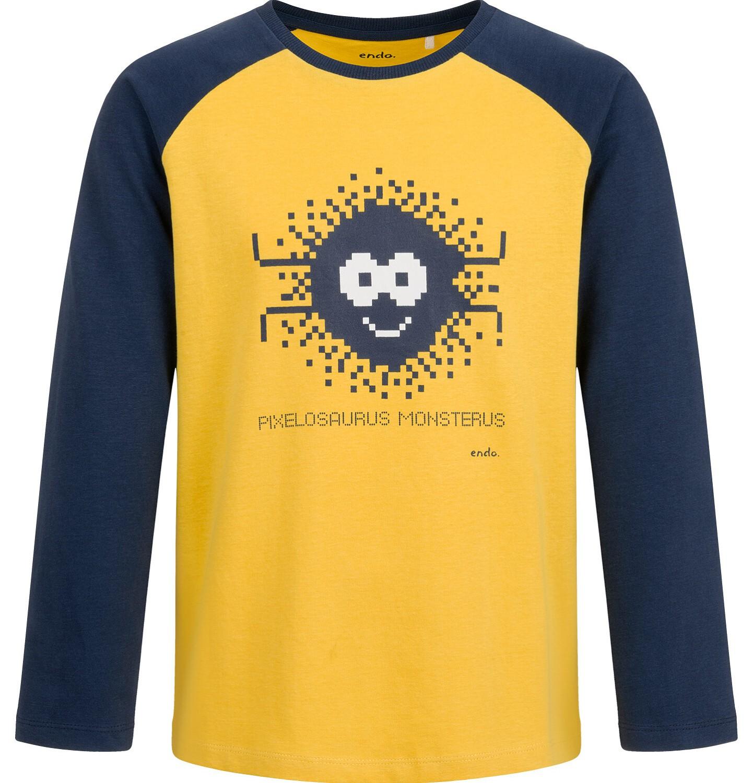 Endo - T-shirt z długim rękawem dla chłopca, żółty, 9-13 lat C04G039_1