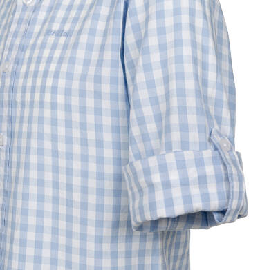 Endo - Koszula z długim rękawem dla chłopca, z kołnierzykiem, w biało-niebieską kratę, 9-13 lat C03F504_1 25