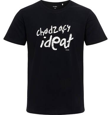 Endo - Męski t-shirt z krótkim rękawem, z napisem chodzący ideał, czarny Q06G006_1 27