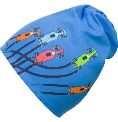 Endo - Czapka wiosenna dla chłopca, w auta, niebieska C03R009_1