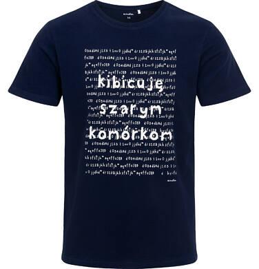 Endo - Męski t-shirt z krótkim rękawem, z napisem kibicuję szarym komórkom, granatowy Q06G011_1 26