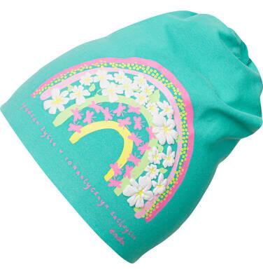Endo - Czapka wiosenna dla dziewczynki, z tęczą, zielona D03R006_1