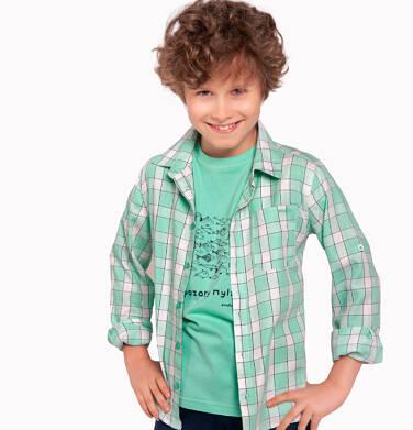 Endo - Koszula z długim rękawem dla chłopca, z kołnierzykiem, w biało-miętową kratę, 2-8 lat C03F007_1 22