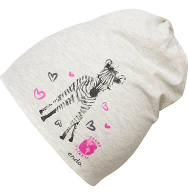 Endo - Czapka wiosenna dla dziewczynki, z zebrą, szara D03R011_1