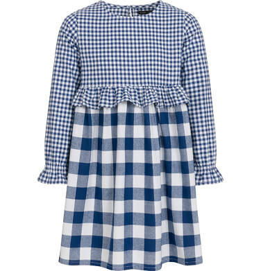 Endo - Sukienka z długim rękawem dla dziewczynki, w kratę, dwukolorowa, 3-8 lat D92H014_1,1