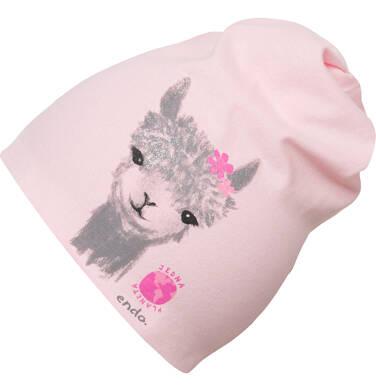 Endo - Czapka wiosenna dla dziewczynki, z lamą, różowa D03R012_1