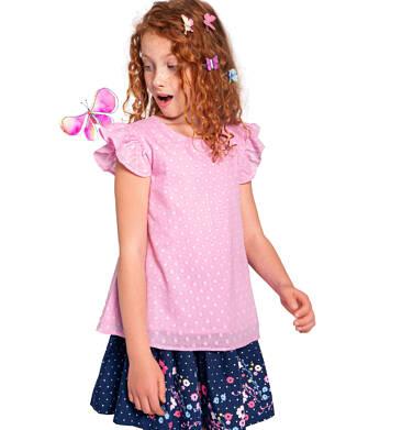 Endo - Bluzka koszulowa z krótkim rękawem dla dziewczynki, w kropki, różowa, 2-8 lat D03F005_1 4