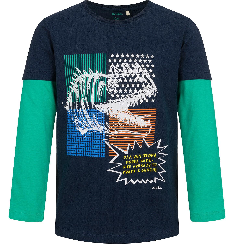 Endo - T-shirt z długim, kontrastowym rękawem dla chłopca, z dinozaurem, 9-13 lat C04G145_1