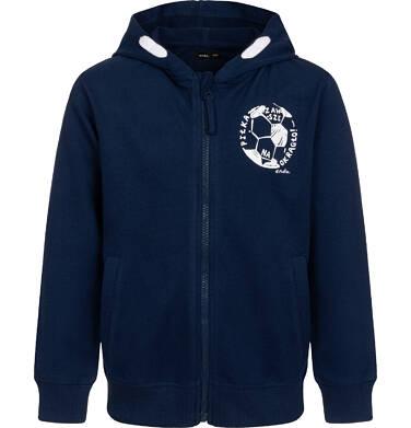 Endo - Rozpinana bluza z kapturem dla chłopca, z piłką nożną na piersi, granatowa, 2-8 lat C05C012_1 25
