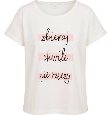 Endo - T-shirt damski, z napisem zbieraj chwile nie rzeczy, kremowy Y06G013_1 10