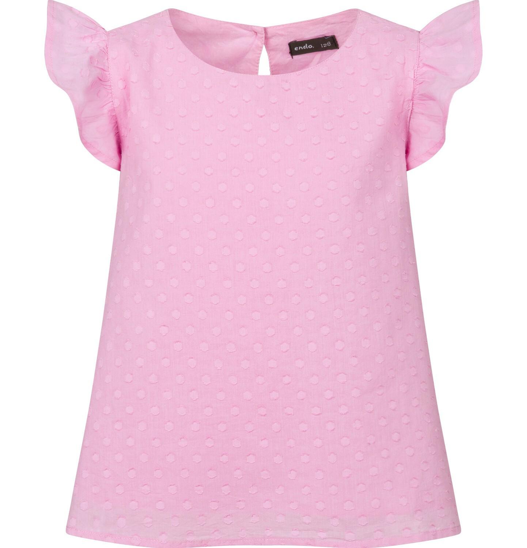 Endo - Bluzka koszulowa z krótkim rękawem dla dziewczynki, w kropki, różowa, 9-13 lat D03F505_1
