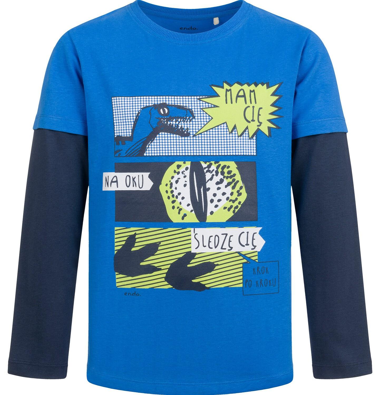 Endo - T-shirt z długim, kontrastowym rękawem dla chłopca, z dinozaurem, 9-13 lat C04G146_1