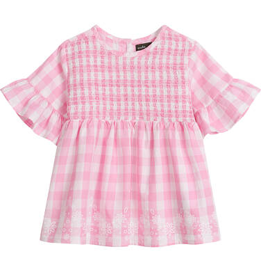 Endo - Koszula z krótkim rękawem dla dziewczynki, w kratę, biało-różowa, 2-8 lat D03F009_1