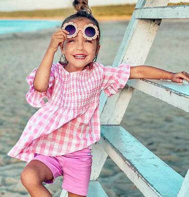 Endo - Bluzka koszulowa z krótkim rękawem dla dziewczynki, w kratę, biało-różowa, 2-8 lat D03F009_1 11