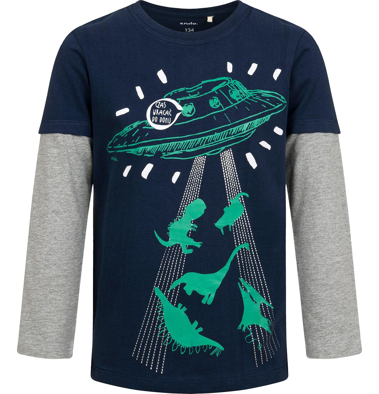 Endo - T-shirt z długim rękawem dla chłopca, ze statkiem kosmicznym, 9-13 lat C04G147_2