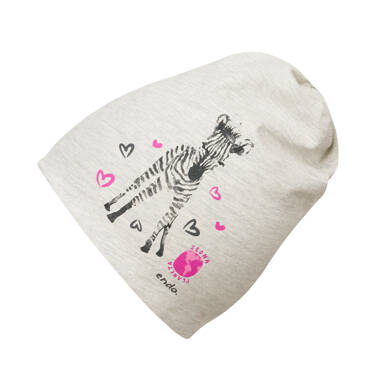 Endo - Czapka dla dziecka do 2 lat, z zebrą, szara N03R024_1