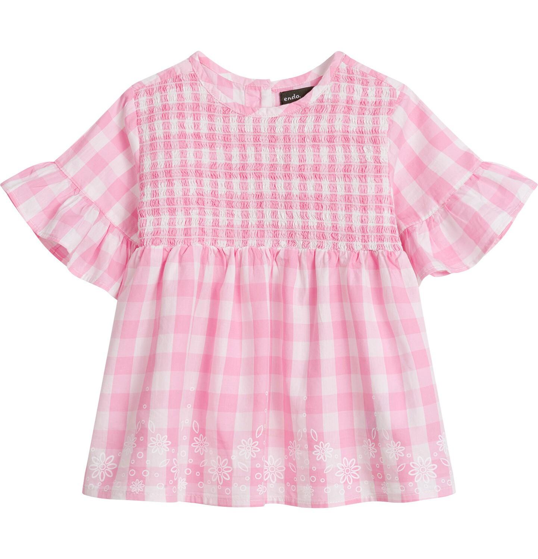Endo - Bluzka koszulowa z krótkim rękawem dla dziewczynki, w kratę, biało-różowa, 9-13 lat D03F509_1