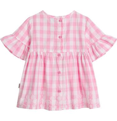 Endo - Bluzka koszulowa z krótkim rękawem dla dziewczynki, w kratę, biało-różowa, 9-13 lat D03F509_1,2