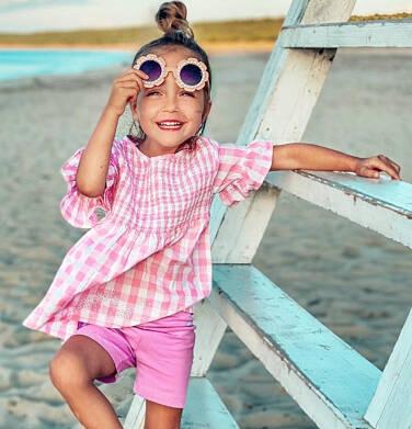 Endo - Bluzka koszulowa z krótkim rękawem dla dziewczynki, w kratę, biało-różowa, 9-13 lat D03F509_1 10