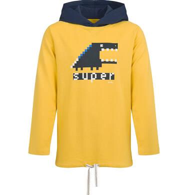 T-shirt z długim rękawem i kapturem dla chłopca, żółty, 9-13 lat C04G163_1