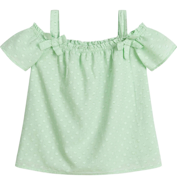 Endo - Bluzka koszulowa na ramiączkach dla dziewczynki, w kropki, miętowa, 9-13 lat D03F512_1