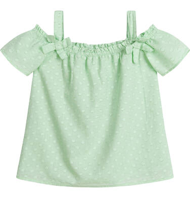 Endo - Bluzka koszulowa na ramiączkach dla dziewczynki, w kropki, miętowa, 9-13 lat D03F512_1 60