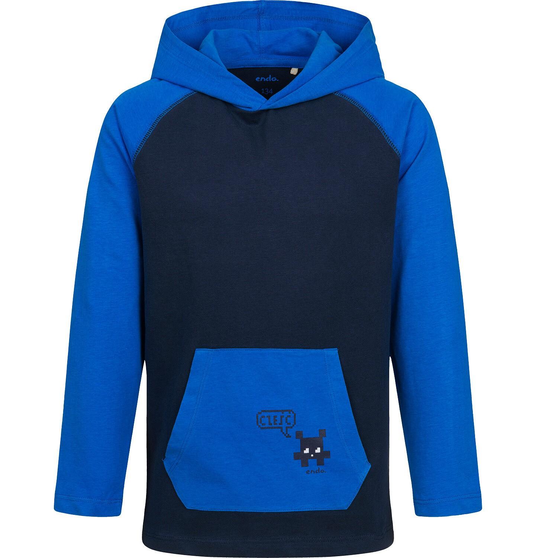 Endo - T-shirt z długim rękawem i kapturem dla chłopca, granatowy, 9-13 lat C04G164_1
