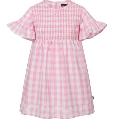 Endo - Sukienka z krótkim rękawem i marszczeniem z przodu, w kratę, biało-różowa, 2-8 lat D03H023_1 3