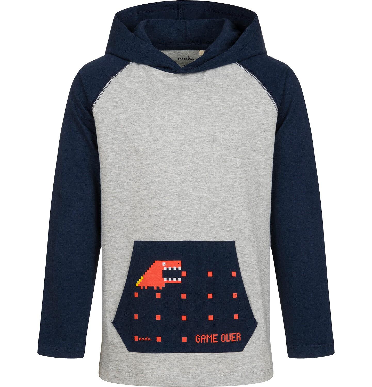 Endo - T-shirt z długim rękawem i kapturem dla chłopca, szary, 9-13 lat C04G165_1