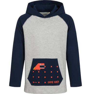 Endo - T-shirt z długim rękawem i kapturem dla chłopca, szary, 9-13 lat C04G165_1 5