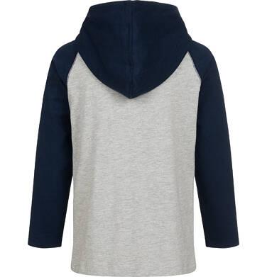 Endo - T-shirt z długim rękawem i kapturem dla chłopca, szary, 9-13 lat C04G165_1,2